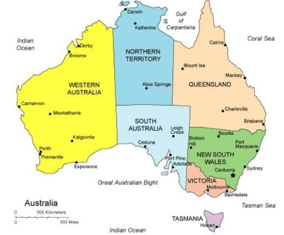 אוסטרליה מפה לפי סטייטים Australia Map